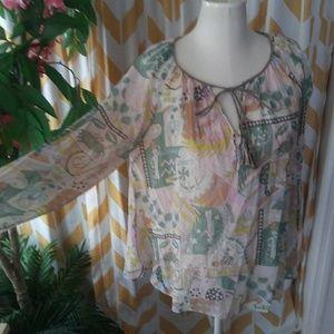 Calypso st barth Size 8 Semi Sheer Silk blouse